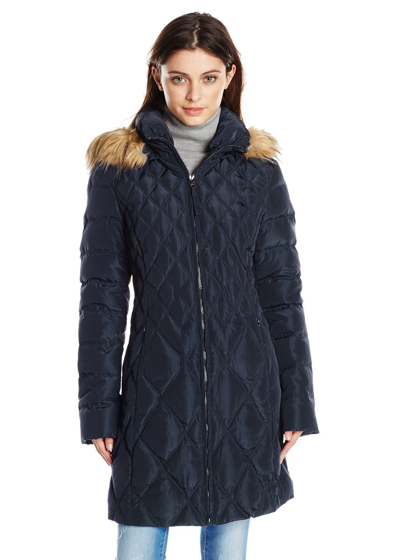 4a0500268 Women's Mid-Length Diamond Quilted Down Coat with Faux Fur Trim