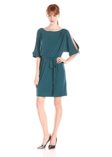 Jessica Simpson Women's ITY Cold Shoulder Dress with Tie Waist