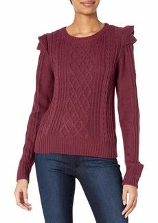 Jessica Simpson Women's Kathy Cute Ruffle Cable Pattern Sweater  XSmall