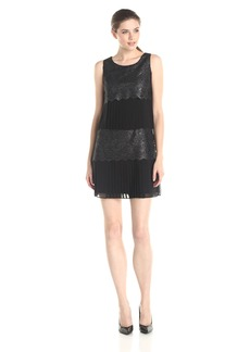 Jessica Simpson Women's Lace and Pleated Chiffon Tired Dress