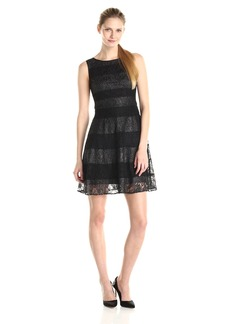 Jessica Simpson Women's Lace and Scuba Colorblock Dress