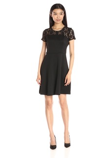 Jessica Simpson Women's Lace and Scuba Fit-and-Flare Dress