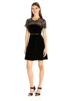 Jessica Simpson Women's Lace and Velvet Combo Dress