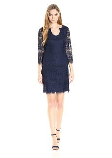 Jessica Simpson Women's Lace Shift Dress with Horseshoe Neckline
