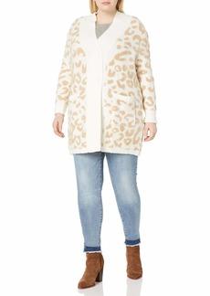 Jessica Simpson Women's Plus Size Lana Oversized Cardigan Sweater Gardenia/Tannin Jacquard