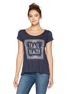 Jessica Simpson Women's Lavender Twist Open Back Graphic Tee