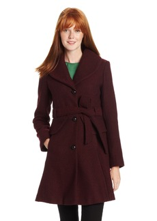 Jessica Simpson Women's Long Basketweave Wool Coat with Belt with Belt