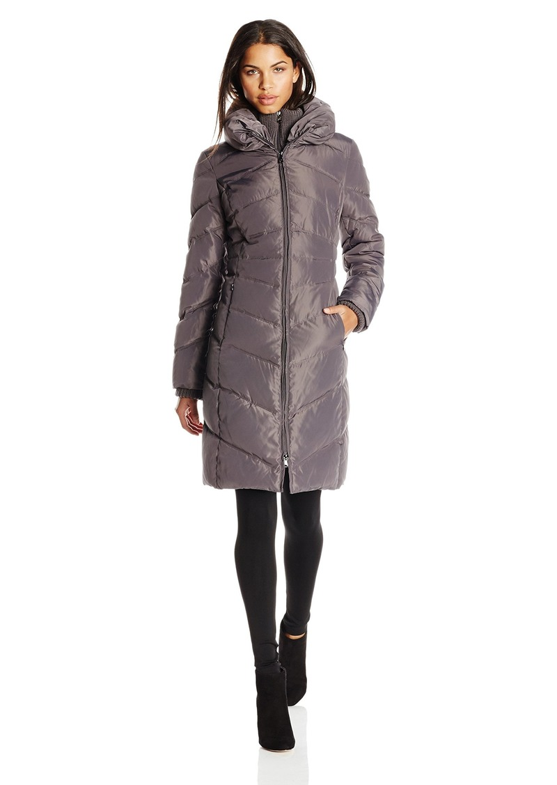 Jessica Simpson Women's Long Chevron Down Coat with Hood  Small