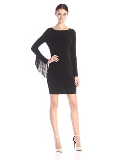 Jessica Simpson Women's Long Sleeve Dress With Fringe Sleeves