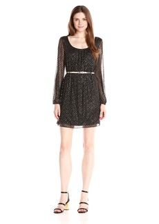 Jessica Simpson Women's Long Sleeve Foiled Mesh Dress with Front and Back Pleats