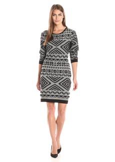Jessica Simpson Women's Long Sleeve Knit Dress with Aztec Print  MD (Women's 8-10)