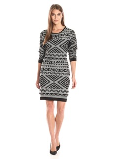 Jessica Simpson Women's Long Sleeve Knit Dress with Aztec Print  XS (Women's 0-2)
