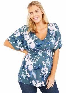 Jessica Simpson Women's Maternity Kimono Sleeve Smocked Waist V Neck Knit Top