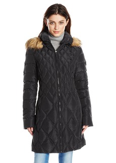 Jessica Simpson Women's Mid-Length Diamond Quilted Down Coat with Faux Fur Trim  Small