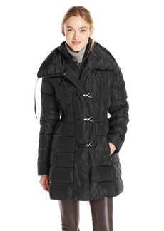 Jessica Simpson Women's Mid Length Down Coat with Clasp Closures  X-Small