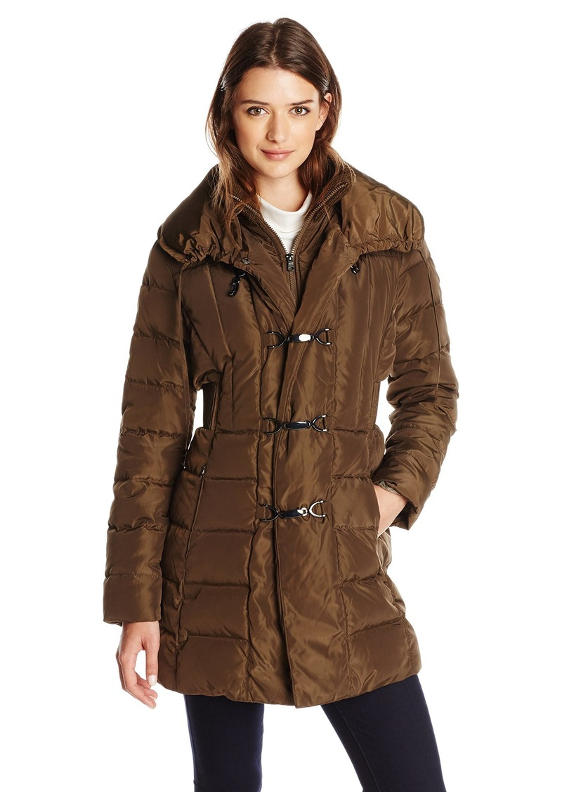 Jessica Simpson Women's Mid-Length Down Coat with Clasp Closures