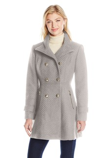 Jessica Simpson Women's Military Fit and Flair Wool Coat  L