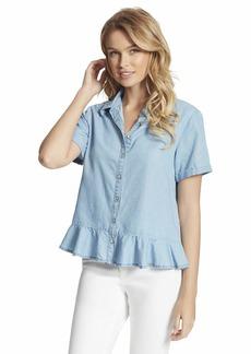 Jessica Simpson Women's Plus Size Nellie 2-Way Button Up Front Shirt