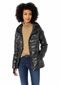 Jessica Simpson Women's Nylon Packable Puffer Jacket Black L