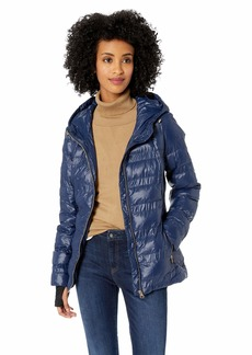 Jessica Simpson Women's Nylon Packable Puffer Jacket Indigo L