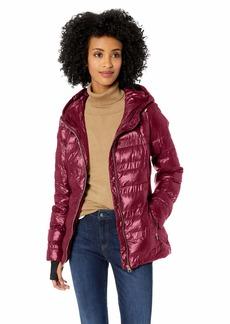 Jessica Simpson Women's Nylon Packable Puffer Jacket Merlot M
