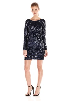 Jessica Simpson Women's Ombre Long Sleeve Sequin Dress with V-Neck Back Detail