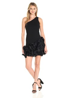 Jessica Simpson Women's One Shoulder Ruffle Bottom Dress