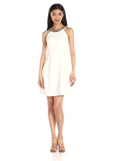Jessica Simpson Women's Ottoman Solid Dress with Neck Trim