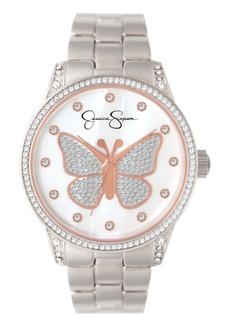 Jessica Simpson Women's Pave Crystal Butterfly Silver Tone Bracelet Watch 36mm