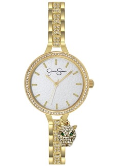 Jessica Simpson Women's Pave Crystal Panther Charm Gold Tone Bracelet Watch 36mm