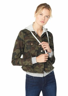 Jessica Simpson Women's Peony Relaxed Denim Jacket Forager camo/French Terry Hoodie X Large