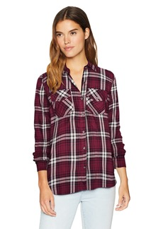 Jessica Simpson Women's Petunia Collared Long Sleeve Button Up Shirt  X Large