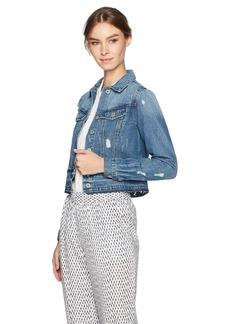 Jessica Simpson Women's Pixie Classic Feminine Crop Fit Denim Jacket  X Large