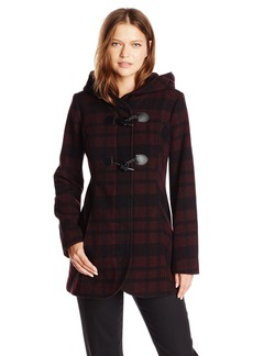 Jessica Simpson Women's Plaid Wool Duffle Coat with Hood