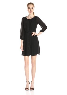 Jessica Simpson Women's Pleated Dress with Lace Accent