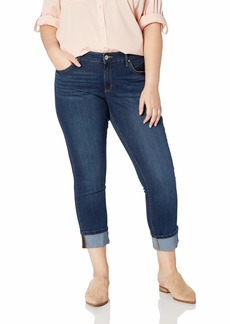 Jessica Simpson Women's Plus Size Arrow Straight Converts Wide Cuff Ankle to Full Length Jean