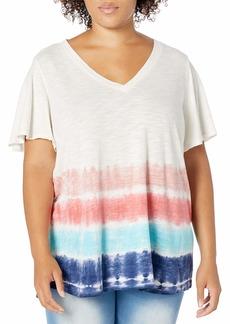 Jessica Simpson Women's Carly Flutter Sleeve Tee Shirt  XSmall