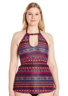 Jessica Simpson Women's Plus-Size Cherokee Queen High Neck Keyhole Tankini
