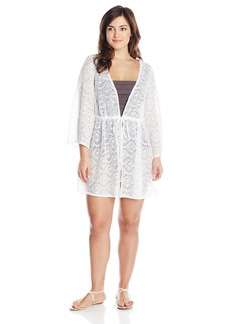 Jessica Simpson Women's Plus-Size Cutout Crochet Tie-Front Cover-Up Jacket