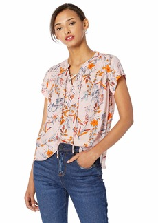 366ecf4617 Jessica Simpson Women's Plus Size Dalton Short Sleeve Lace Up Top with  V-Neckline Peach
