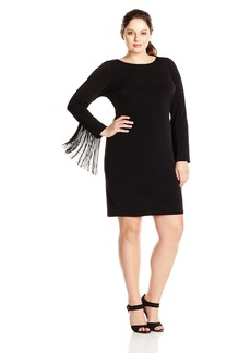 Jessica Simpson Women's Plus Size Dress With Fringe Detail  1X