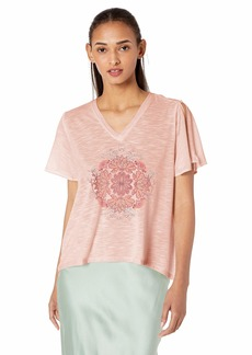 Jessica Simpson Women's Plus Size Frankie Boat Neckline Split Sleeve Graphic Tee Shirt