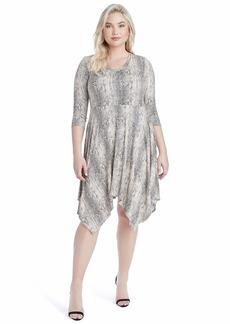 Jessica Simpson Women's Plus Size Kaelin 3/4 Sleeve Handkerchief Hem Dress