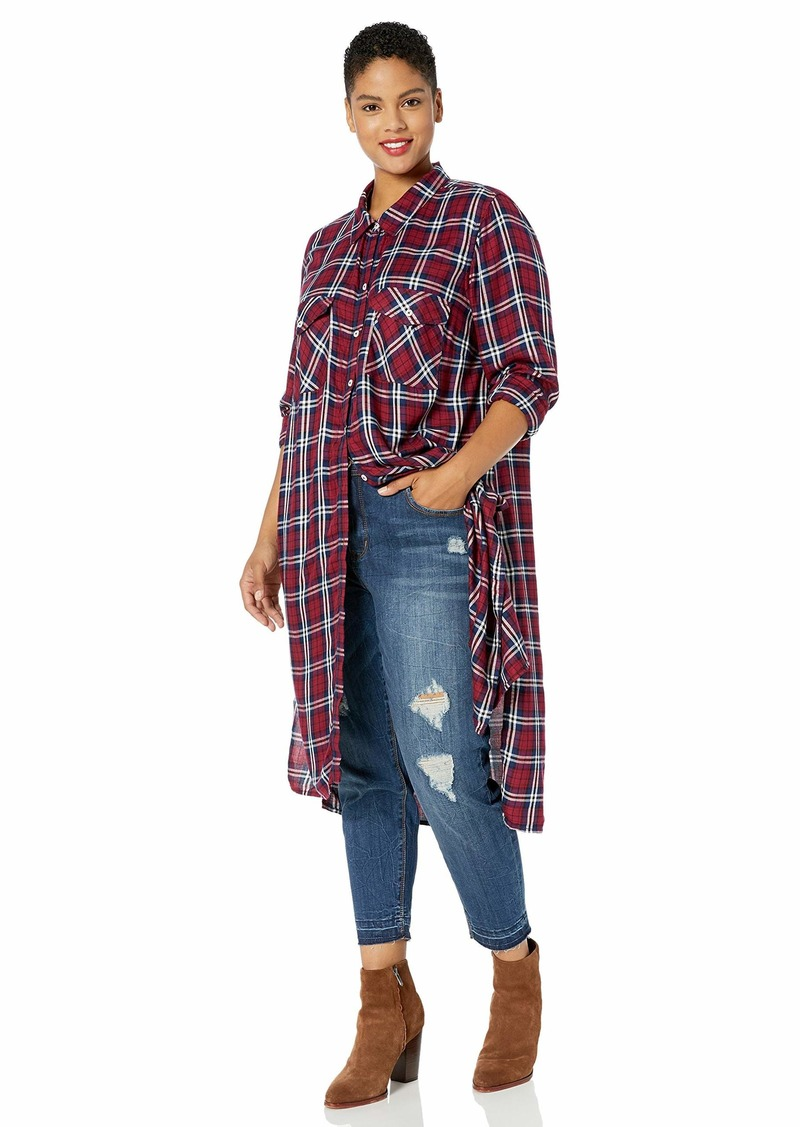 Jessica Simpson Women's Lori Plaid Button Up Duster Shirt Scarlet XLarge