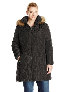 Jessica Simpson Women's Plus-Size Mid-Length Diamond Quilted Down Coat Plus