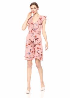 Jessica Simpson Women's Plus Size Nimah Ruffle Tie A-Line Dress