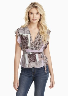 Jessica Simpson Women's Plus Size Paislee Short Sleeve Surplice Blouse