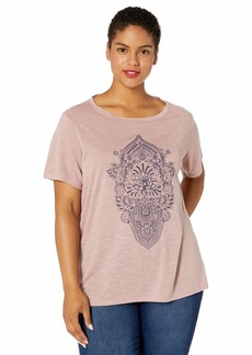 Jessica Simpson Women's Plus Size Remmi Short Sleeve Oversized Graphic Tee Shirt