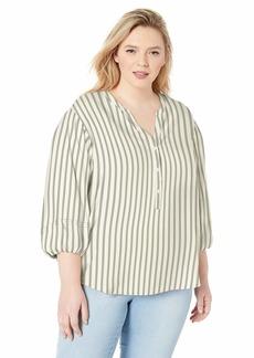 Jessica Simpson Women's Plus Size Sena Bubble Sleeve Button Up Blouse Gardenia - SAIL Away Stripe