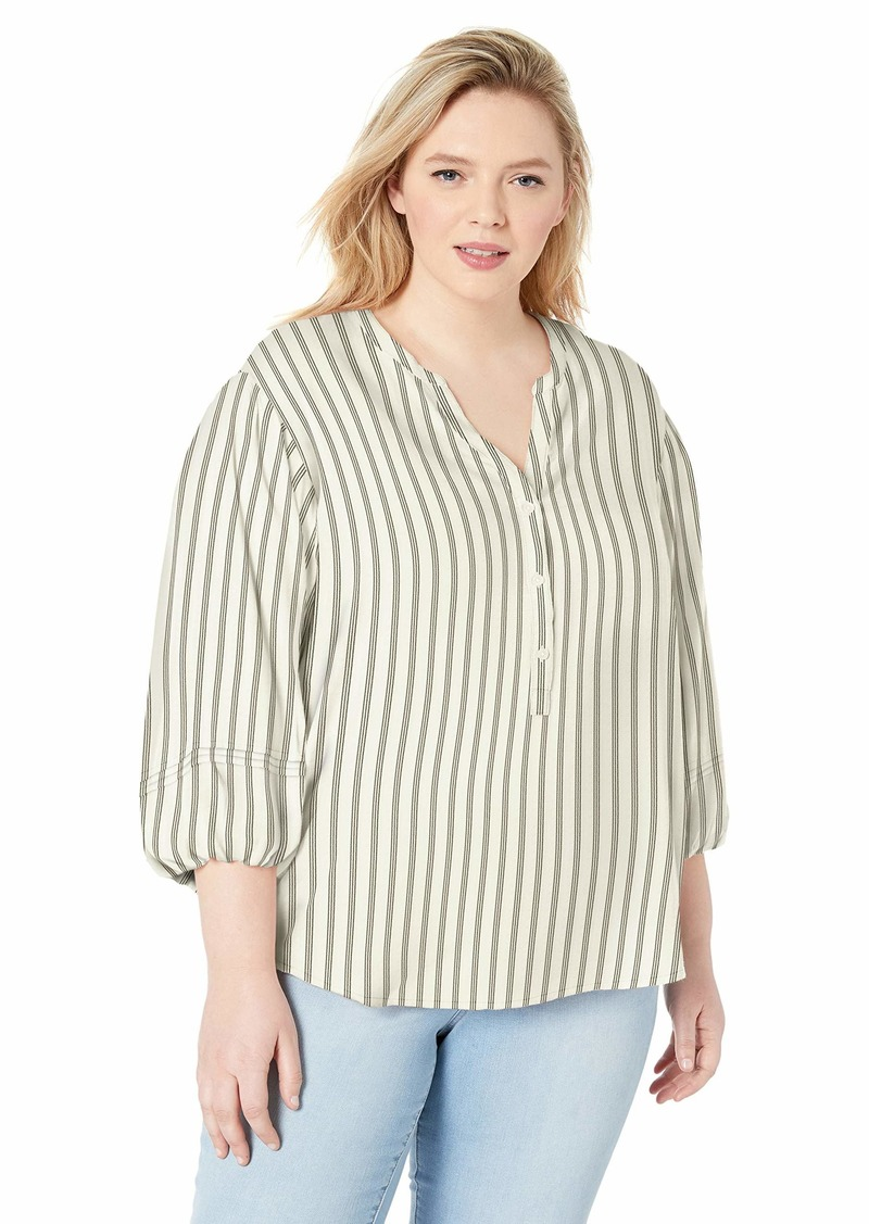 Jessica Simpson Women's Plus Size Sena Bubble Sleeve Button Up Blouse Gardenia - SAIL Away Stripe